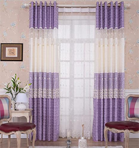 GFYWZ Polyester And Cotton Jacquard Embroidery Semi Shading Stitching Pleat Curtains Bedroom Living Room Princess