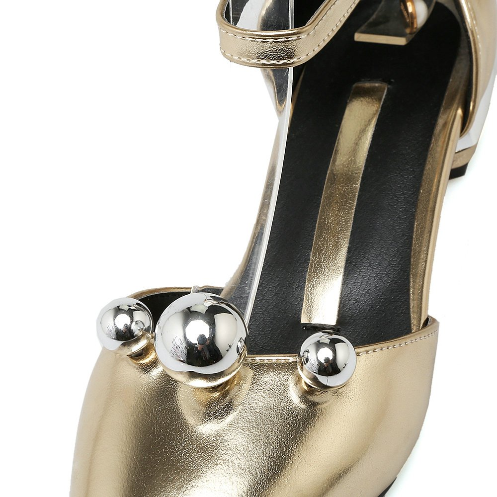 AIWEIYi Ankle Womens Round toe Thick Med Heel Shoes Ankle AIWEIYi Strap Strappy Sandals B01N4M5FI6 US 6.0=CN 36=Feet 23.0cm|Gold cef78c