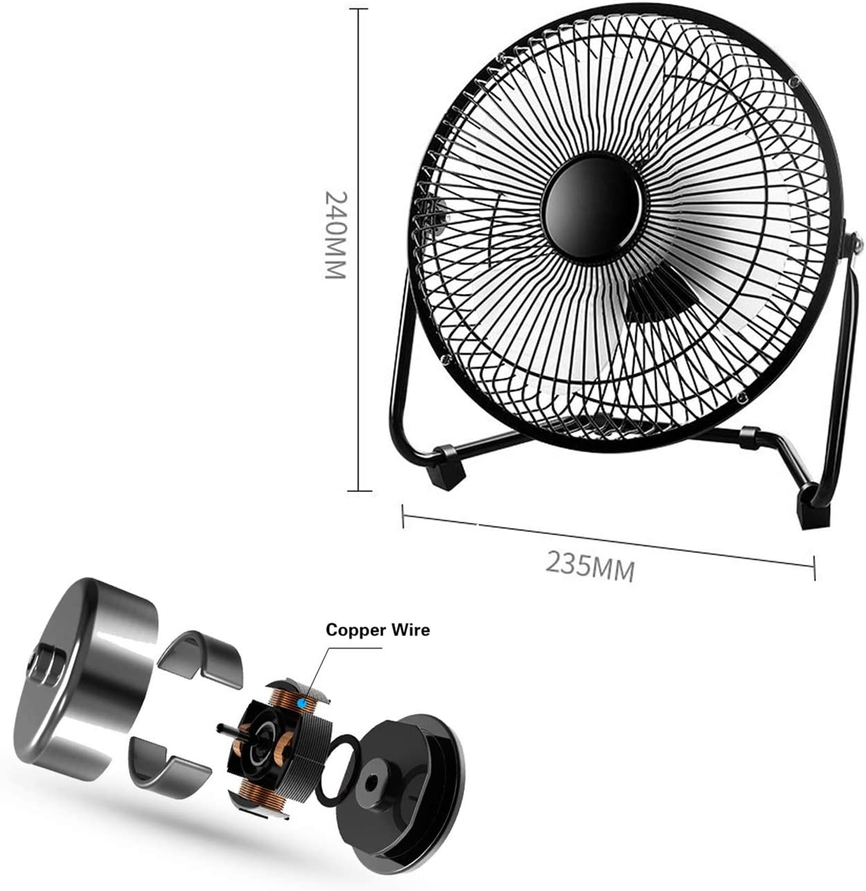 Fan Silent Wrought Iron USB Cable Desktop Personal Mini Metal Shell 8 Inch 360 Degree Rotating Fan High Compatibility Natural Wind Fan Color : Black