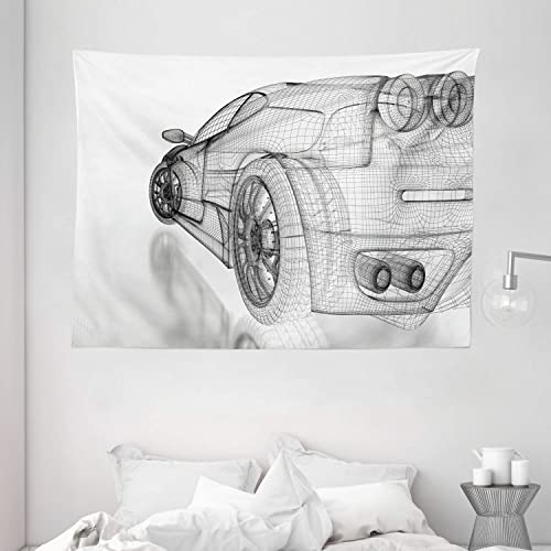 Ambesonne Cars Tapestry, Artificial 3 Dimensional Sports Car Digital Draft Pattern Technology Illustration, Wide Wall Hanging for Bedroom Living Room Dorm, 80 X 60 , White Grey