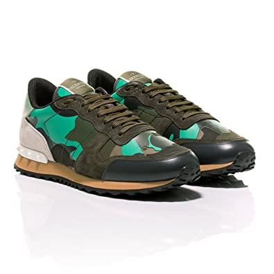 55924a4532ebb Valentino Minty Green Camouflage-Print Rockrunner Sneakers (39 EU ...