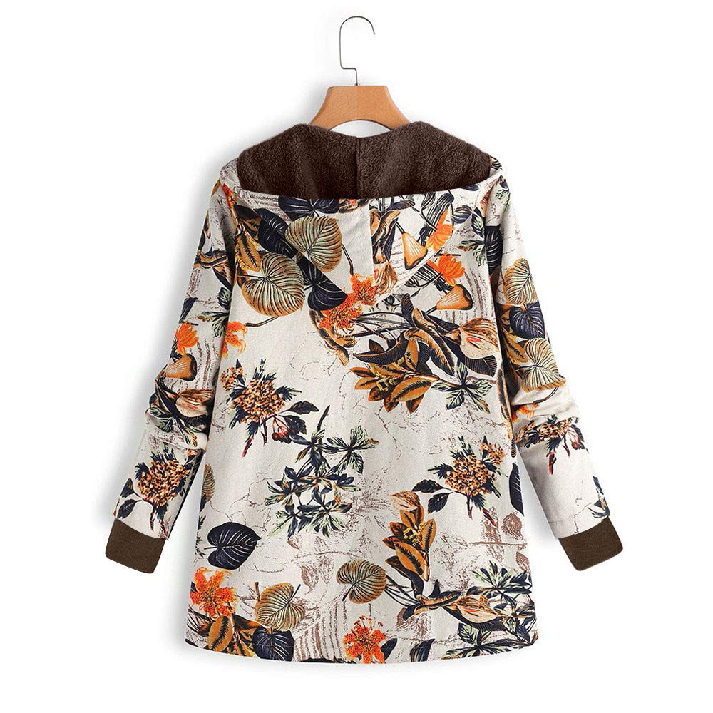 Winter Women Warm Jacket,Vanvler Ladies Floral Print Hooded Oversize Coats Vintage Thick Outwear