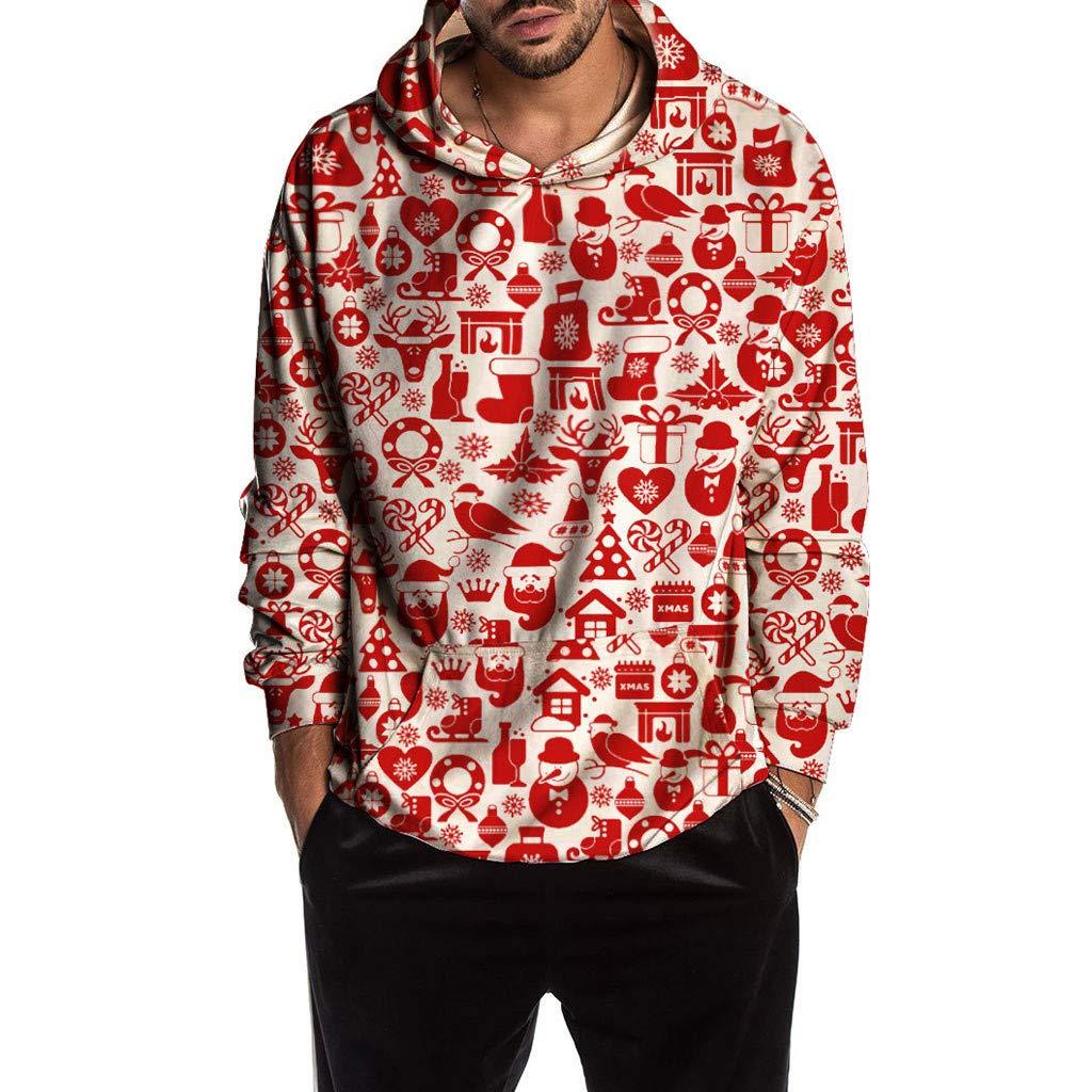 VZEXA Mens Hoodie Christmas Pattern Print Sweatshirt Long Sleeve Hooded Casual Tops (B Red,XL) by VZEXA