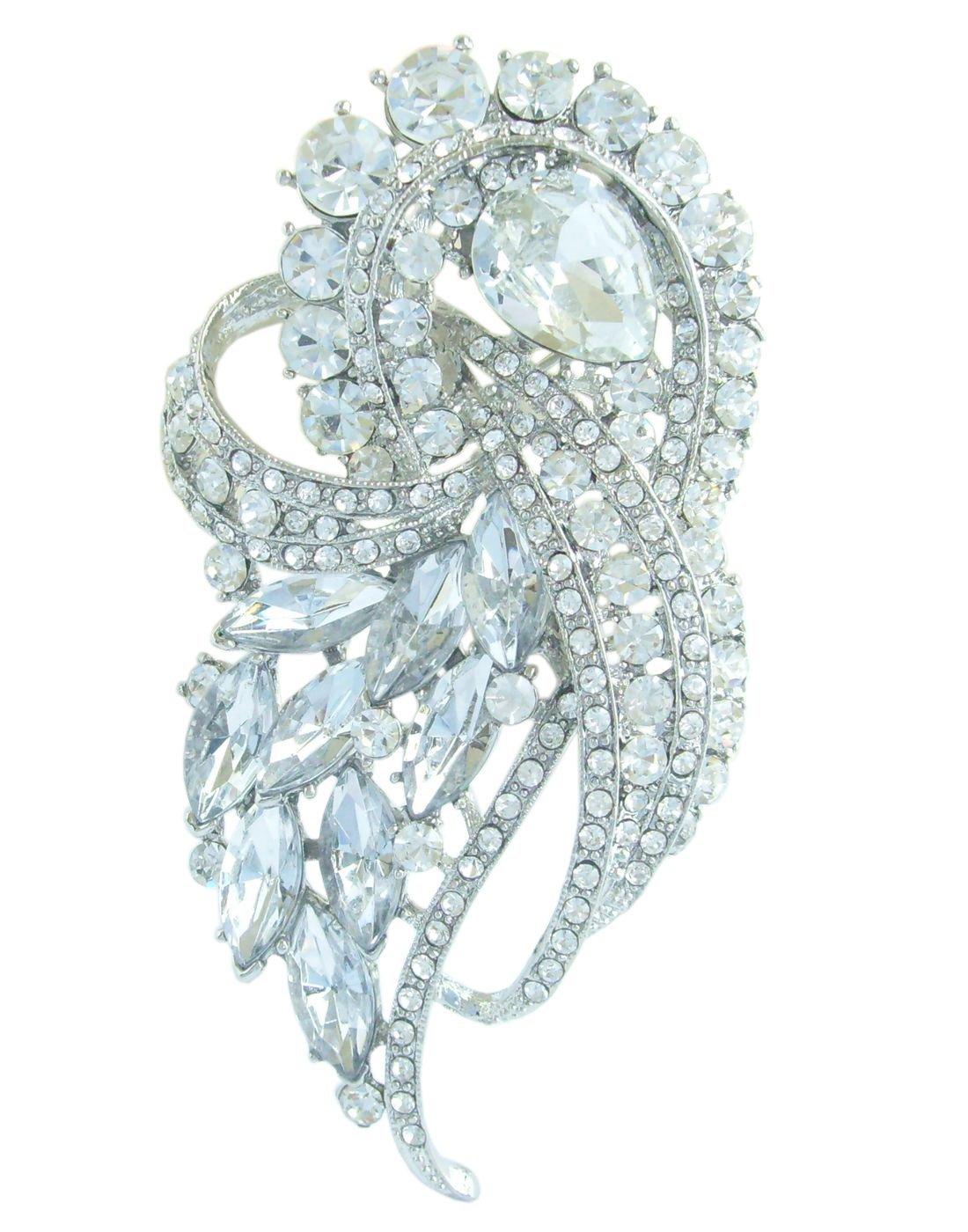 Sindary Pretty 3.74'' Rhinestone Crystal Bowknot Brooch Pin Pendant BZ4243 (Silver-Tone Clear)