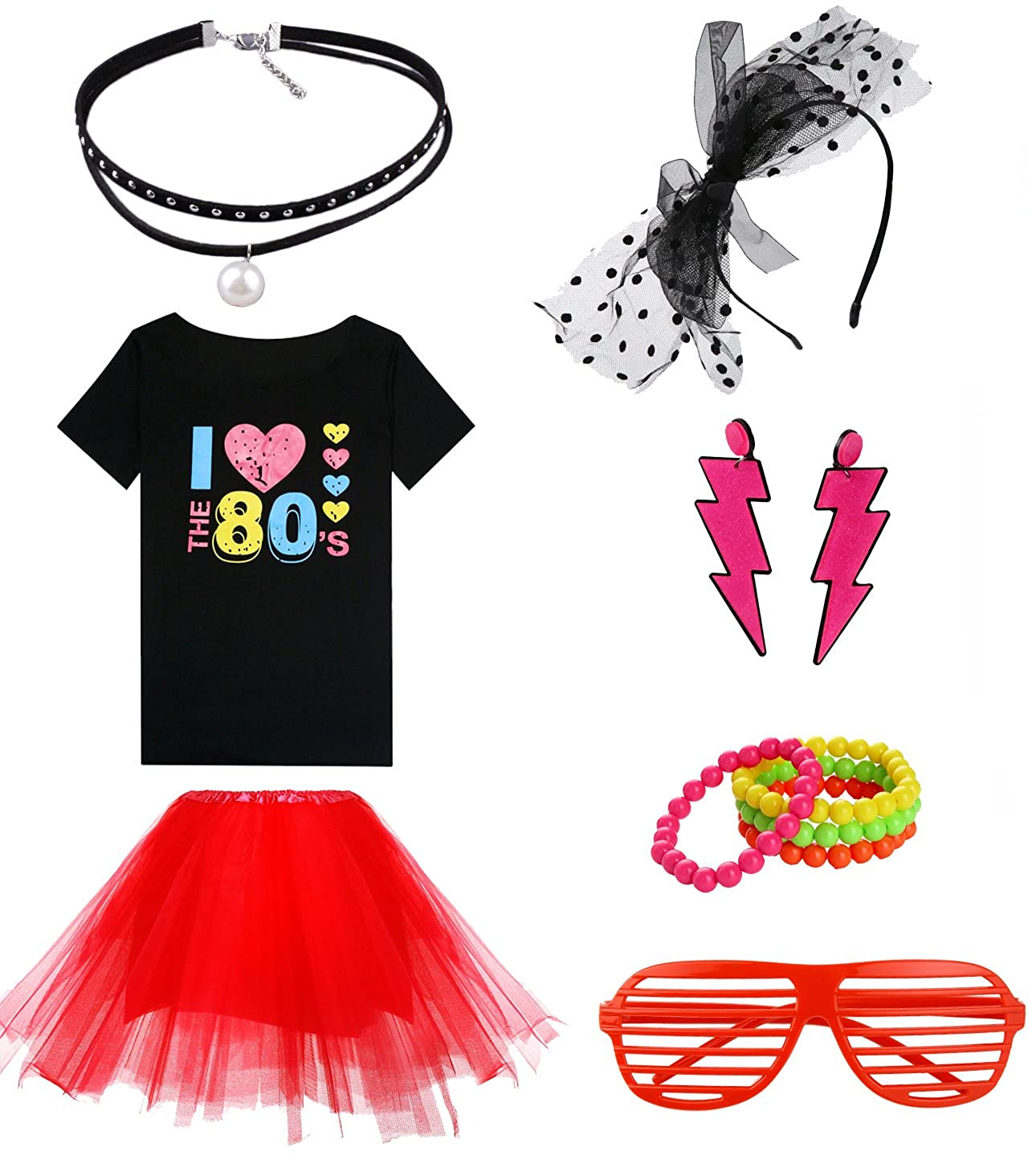 266c986014f13 Amazon.com  Fashion by Janestone Women s I Love The 80 s Off The Shoulder  Tops Costume Set for 80 s Fans  Clothing