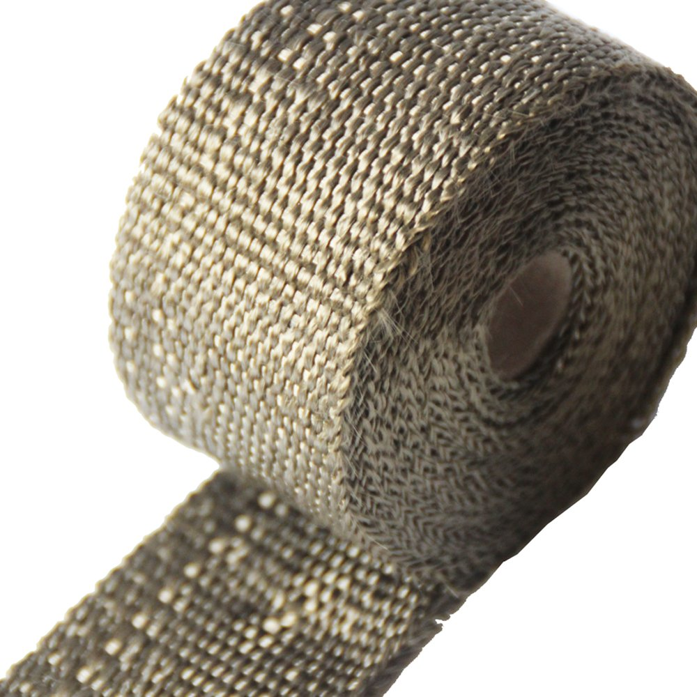 Pack Of 4 LEDAUT 1*25 Titanium Exhaust Heat Wrap Heat Shield Wrap for Motorcycle Exhaust Manifold With 8 Locking Ties