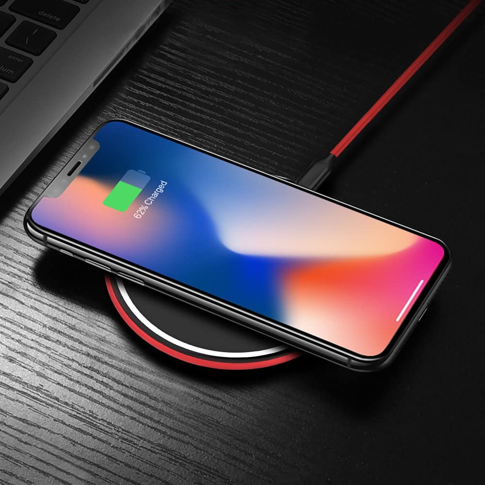 S7/& All Qi-Enabled Devices Wireless Charging Pad for iPhone X//iPhone 8//8 Plus Ultra Slim Thin Qi Charger for Samsung Galaxy S9 S8 Adapter Not Included - Red Wireless Charger