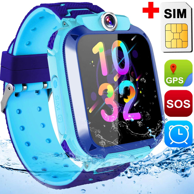GPS Tracker Smart Watch for 3-12 Kids Boys Girls-Smartwatch with SIM Card SOS Two Way Call Camera Games GPS Tracking Device Watch Waterproof Digital ...