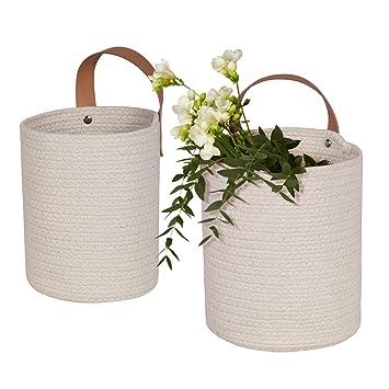 Amazon.com: Juego de 2 cestas de almacenamiento para colgar ...
