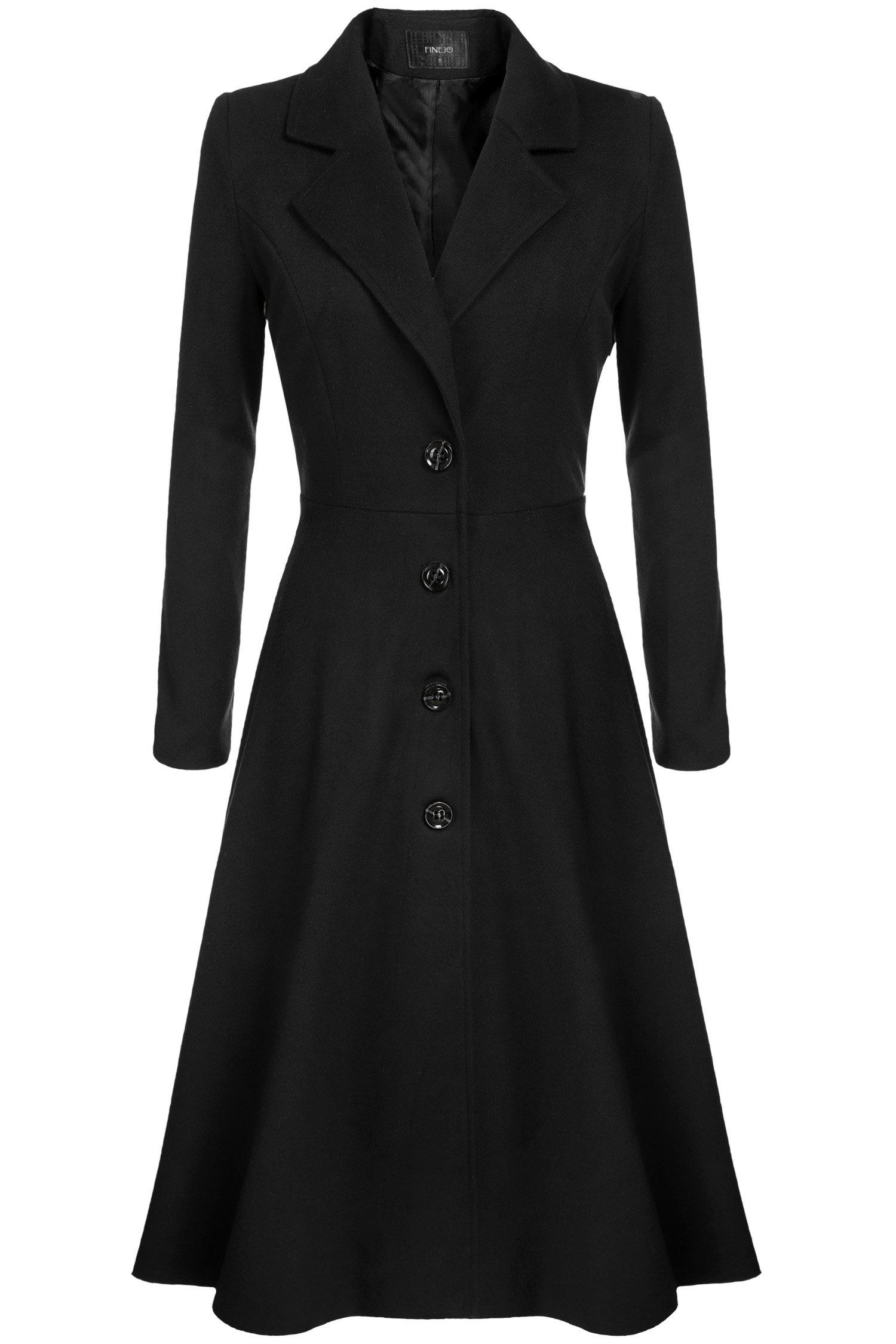 Kize Women Single Breasted Plus Size Long Trench Overcoat - XX-Large - Black