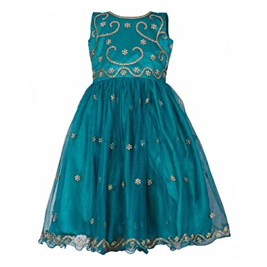 fb1f013ffd9 LAVIS Latest Designer Green Baby frocks Party Wear  Embroidered Yoke with  layers of Soft Unique Net dress (7 to 8 years Baby   Girl baby)  Amazon.in   ...