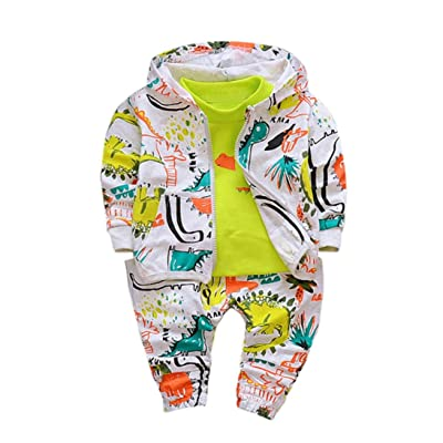 DIGOOD Baby Girls Boys Cartoon Coat+Print T-Shirt+Pants,For 1-4 Years Old,3Pcs Lovely Kids Outfits
