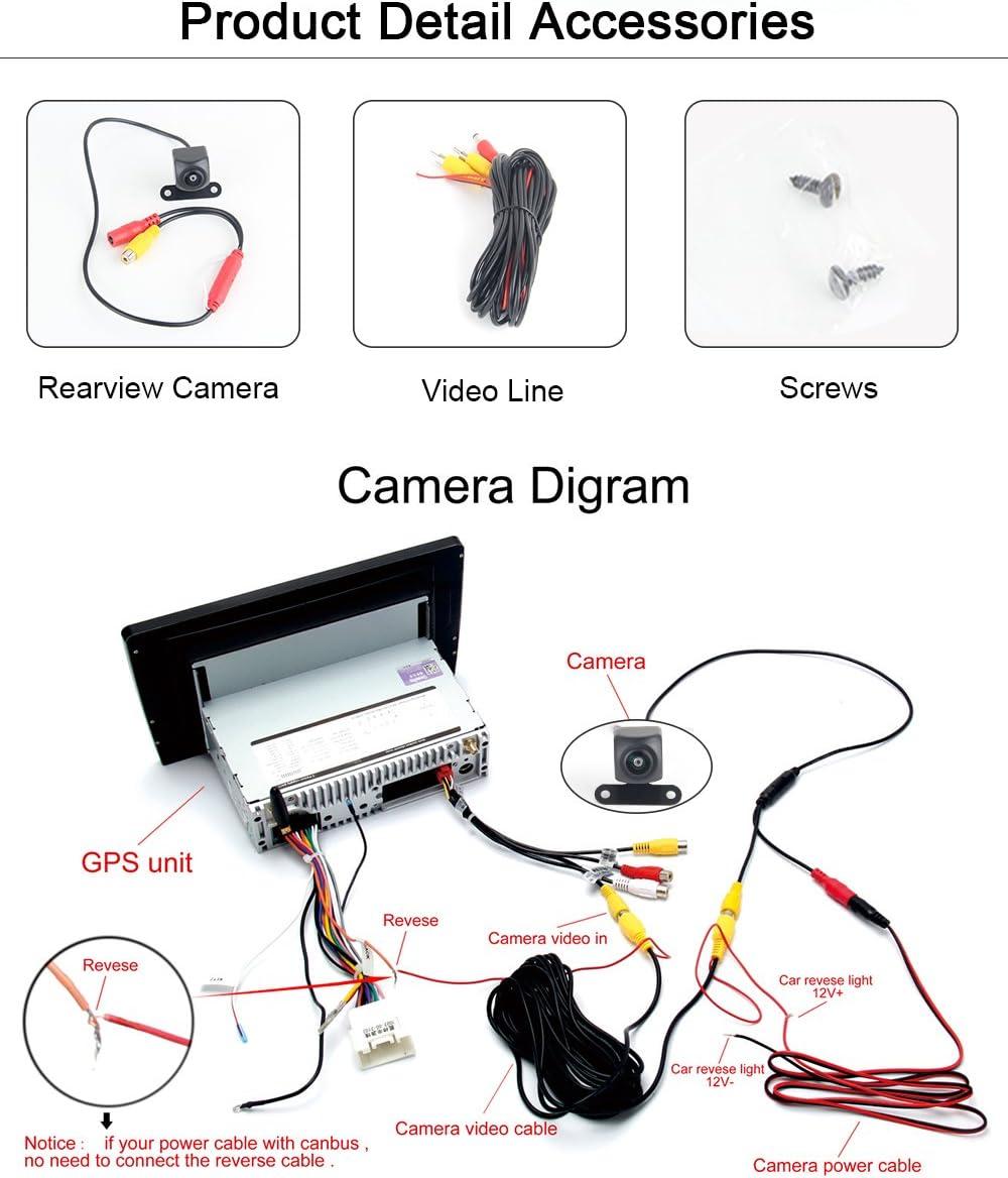 Dasaita 170/° Angle Reversing Camera for Universal Rear View Backup Cams Back up Rearview Cams Reversing Parking Kit