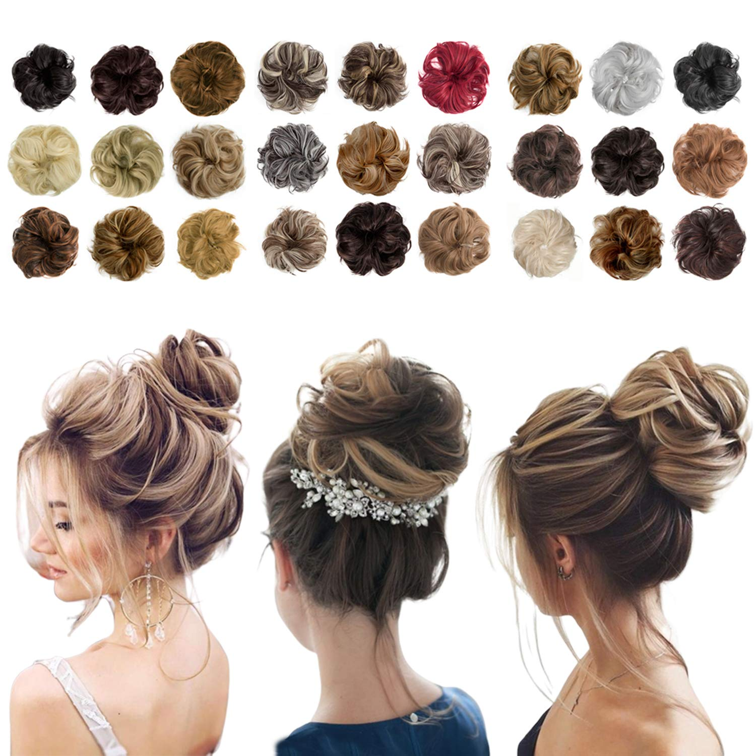 Messy Bun Hair Piece Thick Updo Scrunchies Hair Extensions Ponytail Hair Accessories Light Brown Mix Ash Blonde