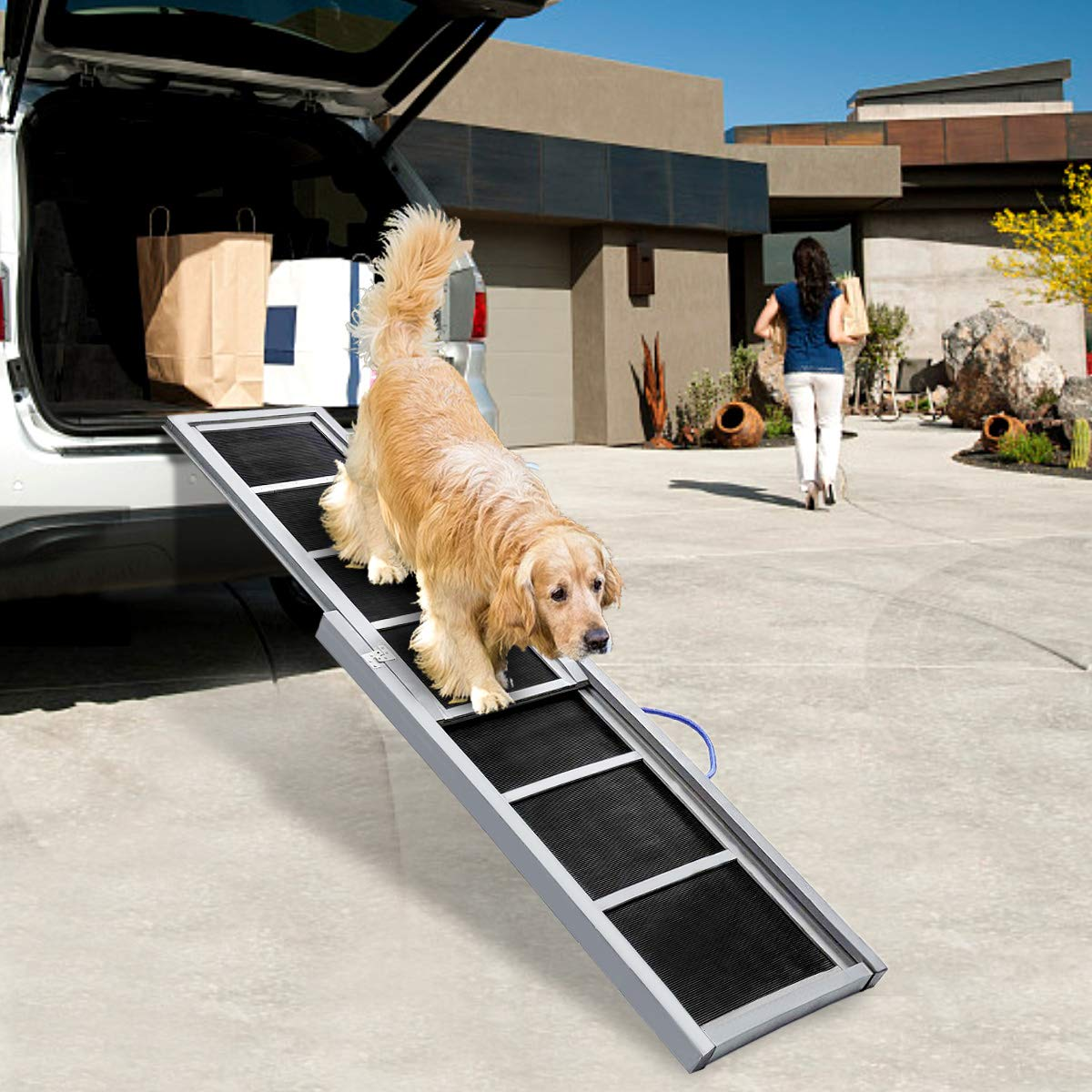 TOOCA Dog Ramps Telescoping Non-Slip Stable Wooden Pet Ladder for Steep Inclines Compact Portable for Car Storage by TOOCA