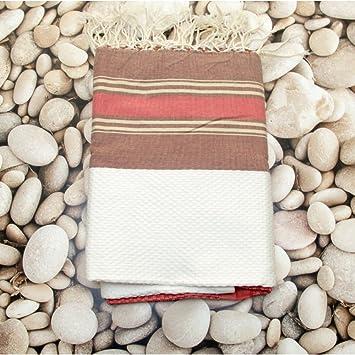 Beige Rojo - 100% algodón Fouta toalla de baño, 100cm x 200 cm,