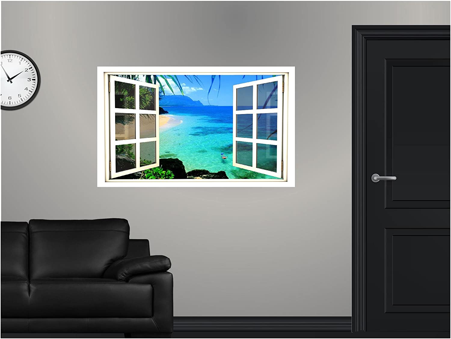 Amazoncom Window Scape HUGE Instant View Hawaii Coast - Window decals for home australia