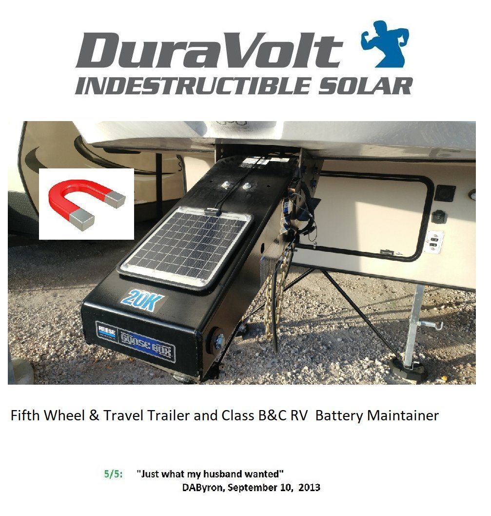 DuraVolt Fifth Wheel & Travel Trailer (Class B&C RV) Magnetic Battery maintainer 12 Volt 8.3 Watt - No Experience Plug & Play Design. Dimensions 11.8'' L x 10.0'' W x 1/4'' Thick. 10' Cable.