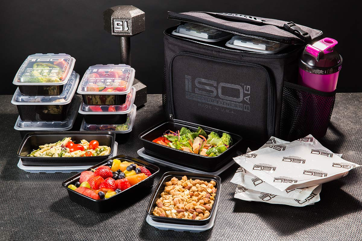 Isolator Fitness 6 Meal ISOCUBE Meal Prep Management Insulated Lunch Bag Cooler with 12 Stackable Meal Prep Containers, 3 ISOBRICKS, and Shoulder Strap - MADE IN USA (Blackout) by Isolator Fitness (Image #5)