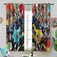 Blackout Window Curtain Collage Instrument Joyful W63 x L45 Inch (2 Panels) for...