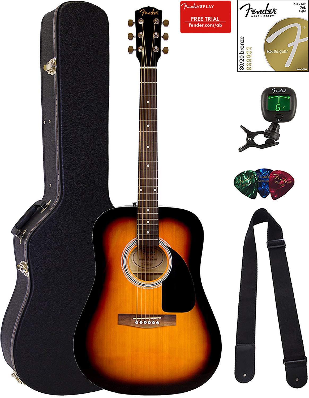 Fender FA-115 Dreadnought Acoustic Guitar - Sunburst Bundle with Hard Case, Tuner, Strings, Strap, and Picks by Fender