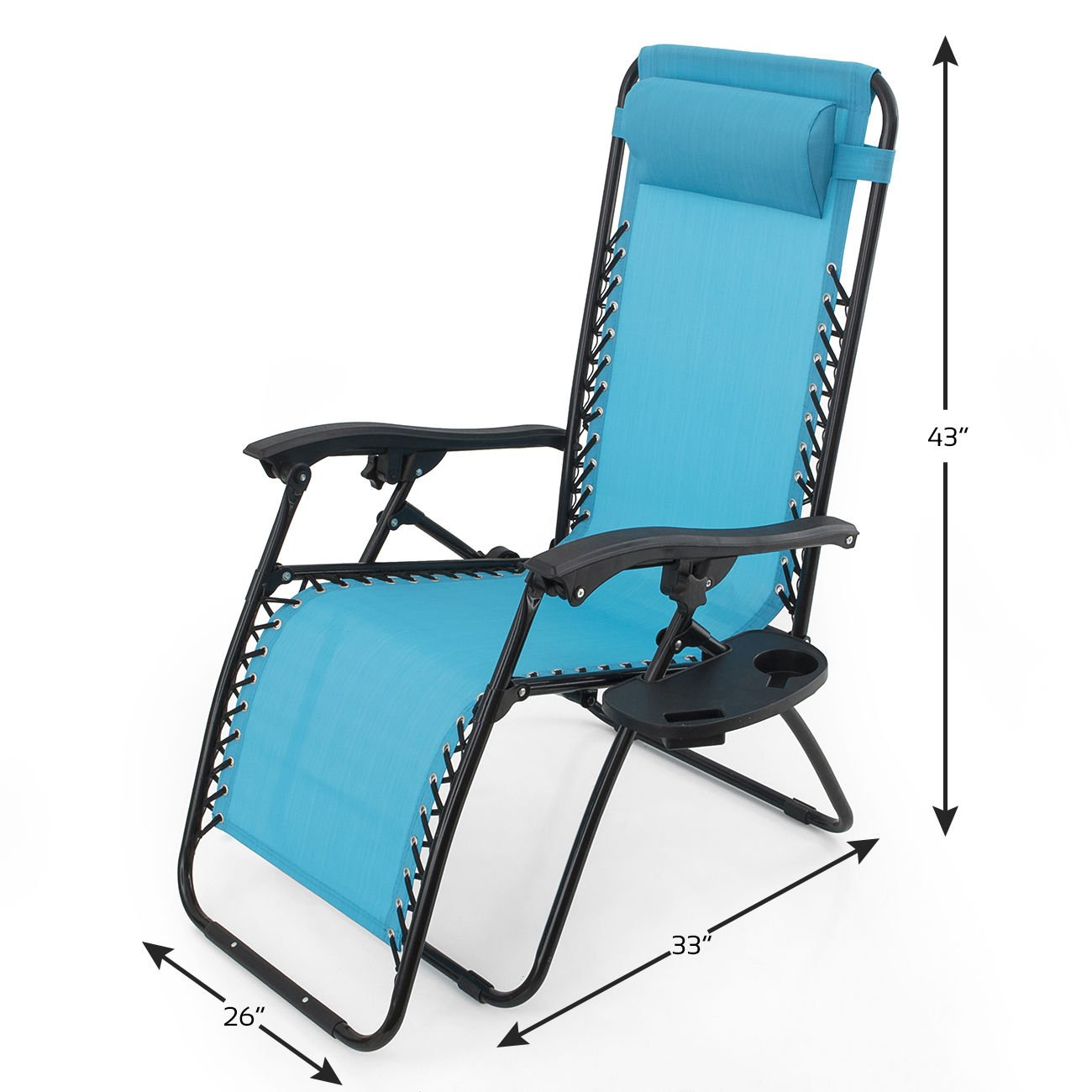 GHP Set of 2 Outdoor Beach Patio 300LBS Capacity Sky Blue Zero Gravity Lounge Recliner Chairs