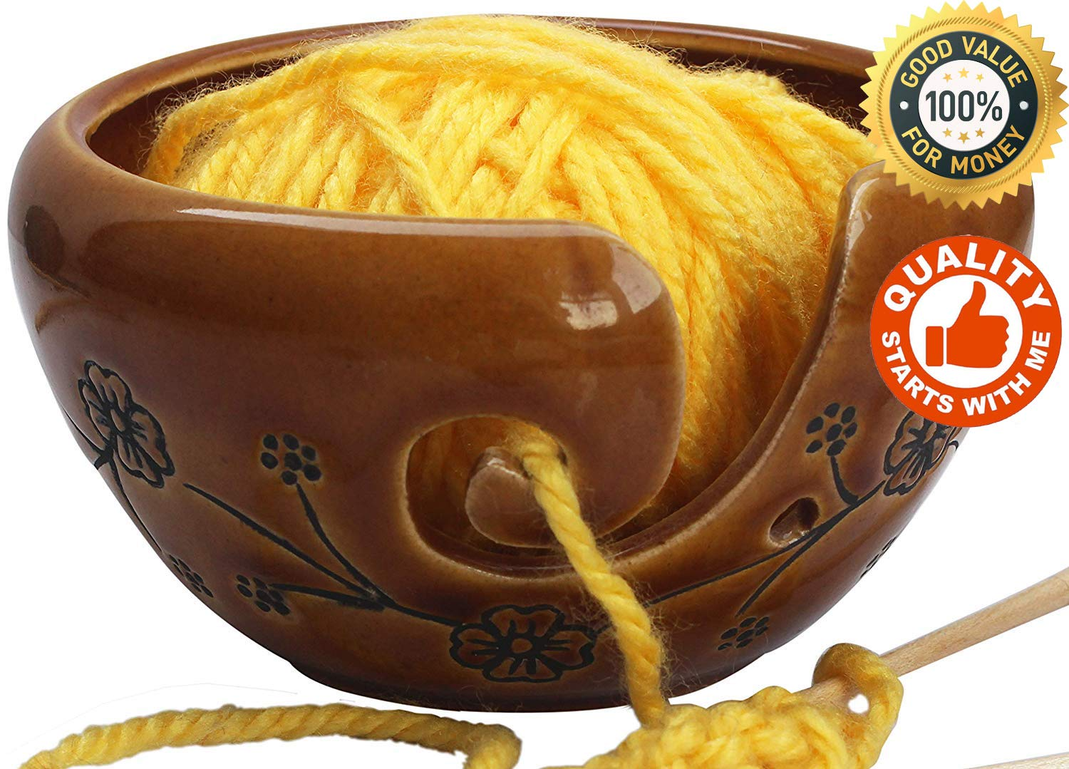 abhandicrafts - Deals of The Day - Ceramic Brown Yarn Bowl for Knitting, Crochet for Moms - Beautiful Gift on All Occasions. A for Moms and Grandmothers 6.5X4 Inch