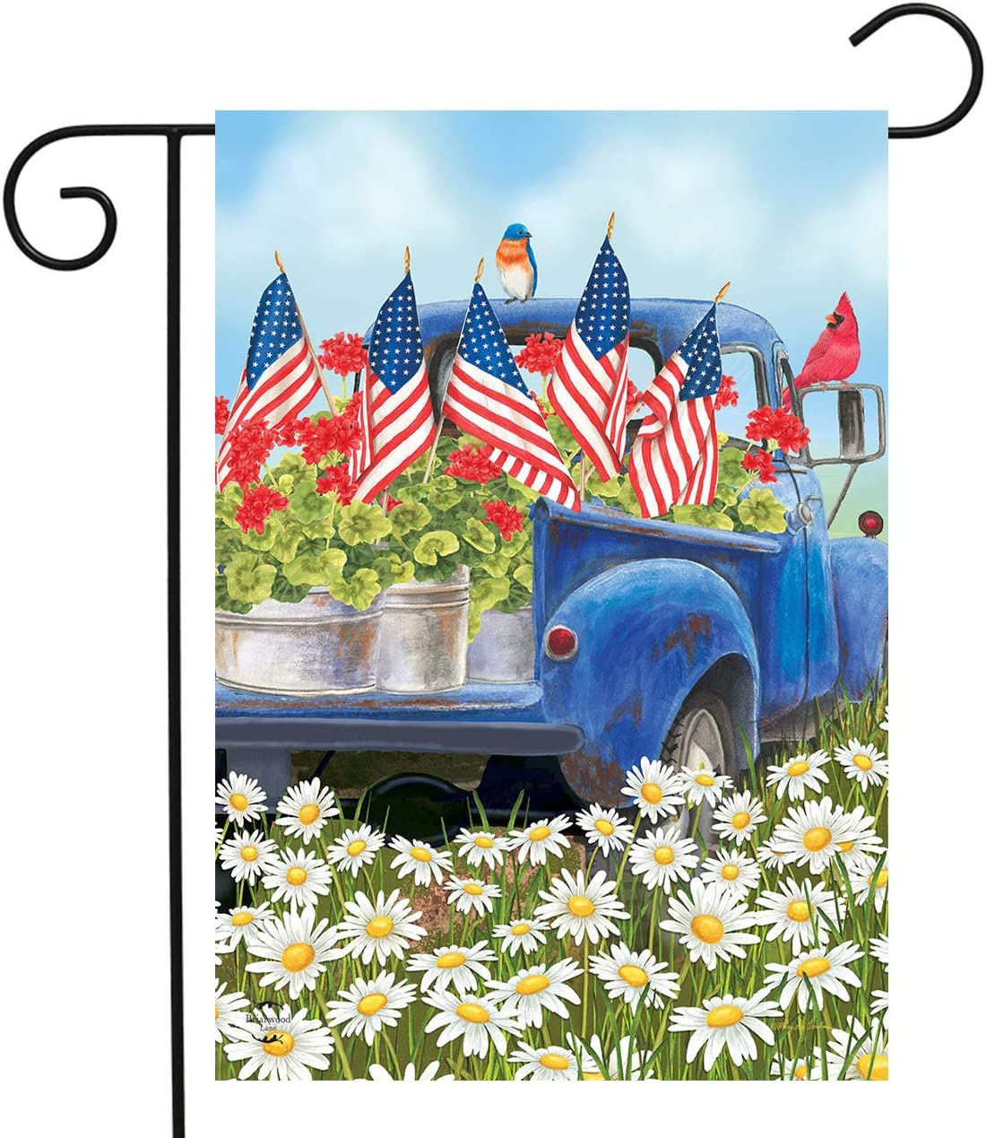 "Briarwood Lane All American Truck Floral Garden Flag Patriotic Flags 12.5"" x 18"""