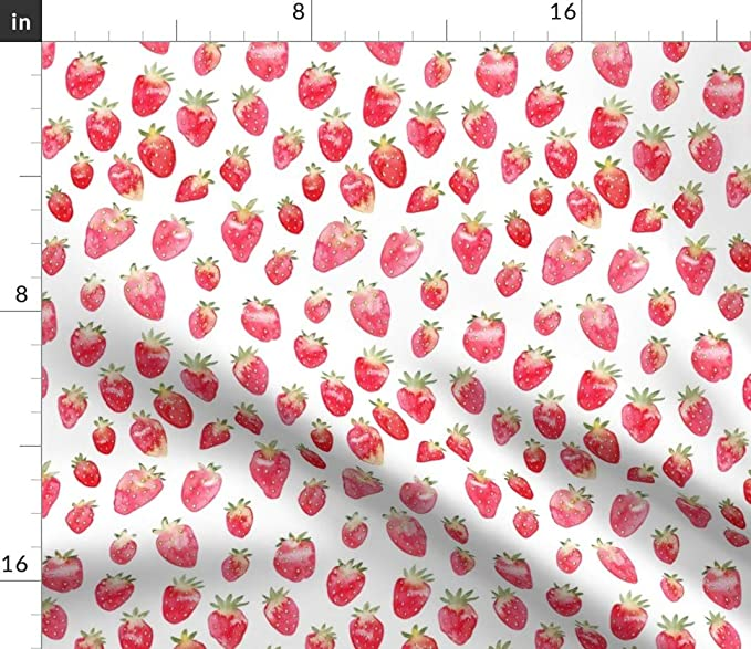 Rectangular Tablecloth Strawberry/_Field By Ldpapers Watercolor Strawberry Bantam Cotton Sateen Tablecloth  Spoonflower Fabric