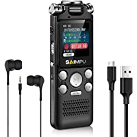 SAIMPU Digital Voice Recorder 8gb Dictaphone with Mp3 Player Spy Recorder Voice Activated Recorder for Lectures, Professional Noise Reduction Rechargeable Recording Device