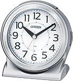 シチズン 目覚まし時計 アナログ サイレントミグR645 暗所 ライト 自動 点灯 連続秒針 銀色 CITIZEN 8RE645-019