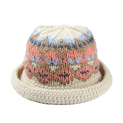 410b8774103 Women Winter Vintage Pattern Handmade Warm Knitted Hat Brim Foldable Bucket  Hat