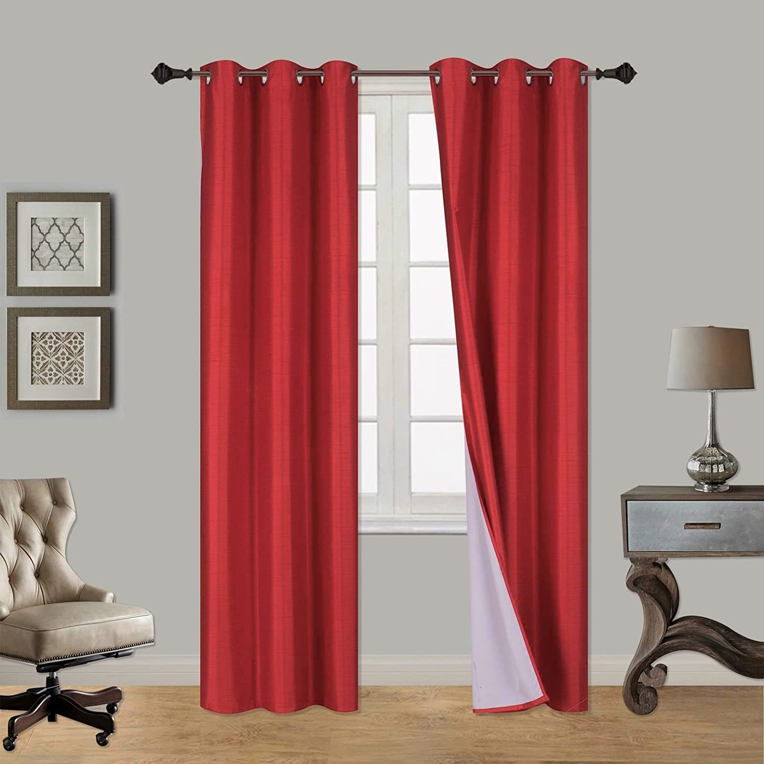 GorgeousHome (ADAM) Blackout 100% Room Darkening Guarantee Insulated Lined Thermal Window Grommets Curtain Red