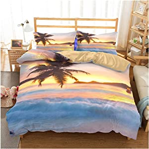 Ocean Duvet Cover Set Twin Size, Tropical Island with The Palm Trees and Sea Beach Nature Theme Print, A Decorative 3 Piece Bedding Set with 2 Pillow Shams, Turquoise Blue