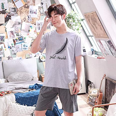 LSJSN Pijama Ocio Verano Hombres Algodón Manga Corta Conjunto De Pijama Moda Ropa Cómoda para El Hogar Ropa De Dormir Informal -L: Amazon.es: Deportes y aire libre