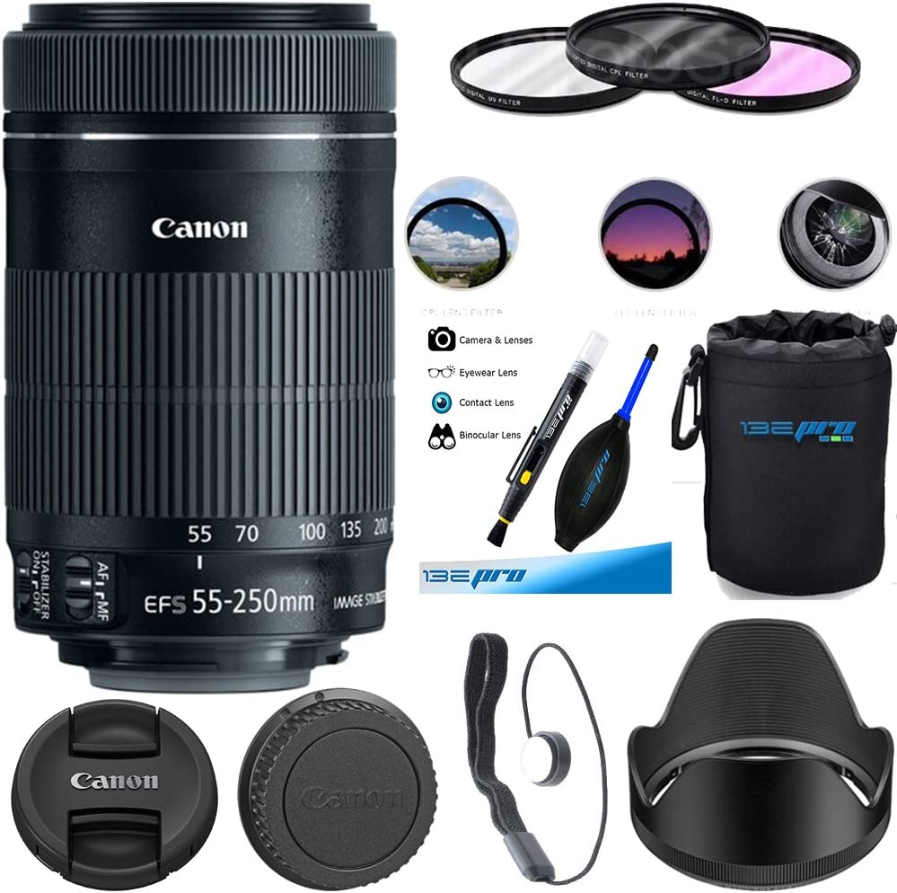 Canon EF-S 55-250mm F4-5.6 IS STM Lens with Accessory Kit for Canon SLR Cameras