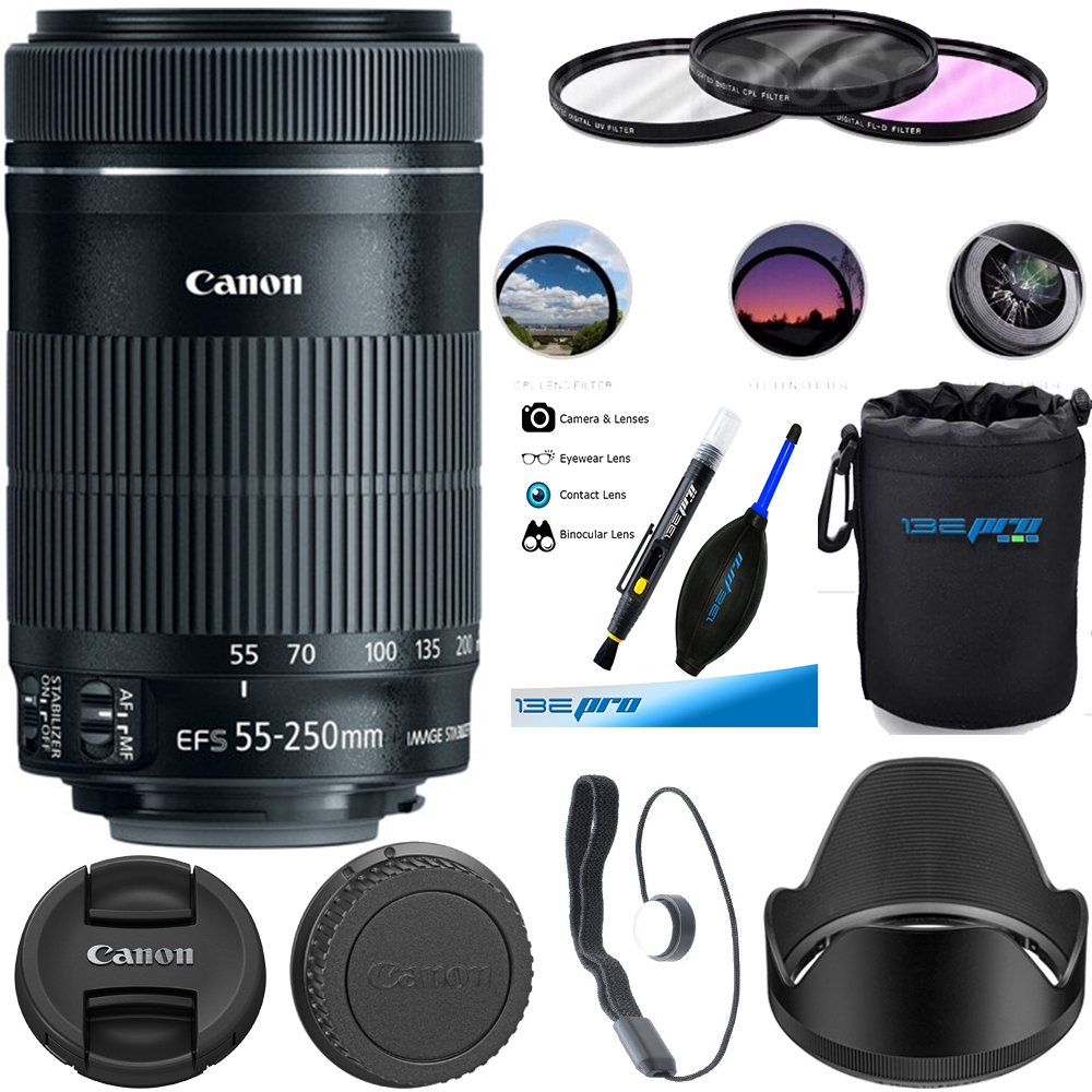 Canon EF-S 55-250mm f/4-5.6 is STM Lens - Deal-Expo Essential Accessories Bundle
