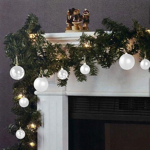 Wohaga Guirnalda de Navidad Abeto Guirnalda luz Cadena 270cm 20 lámparas 16 Bolas Blanco: Amazon.es: Hogar