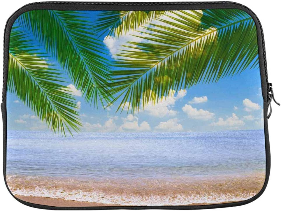 INTERESTPRINT Laptop Sleeve Tropical Sea Beach with Palm Leaves Wooden Notebook Neoprene Pouch Case Bag 11 Inch 11.6 Inch
