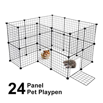 Cocoarm Pet Playpen For Small Animal Portable Diy Puppy Kennel Metal Grid Cage With Door And Cable Tie Indoor Outdoor Exercise Pen Play Yard For