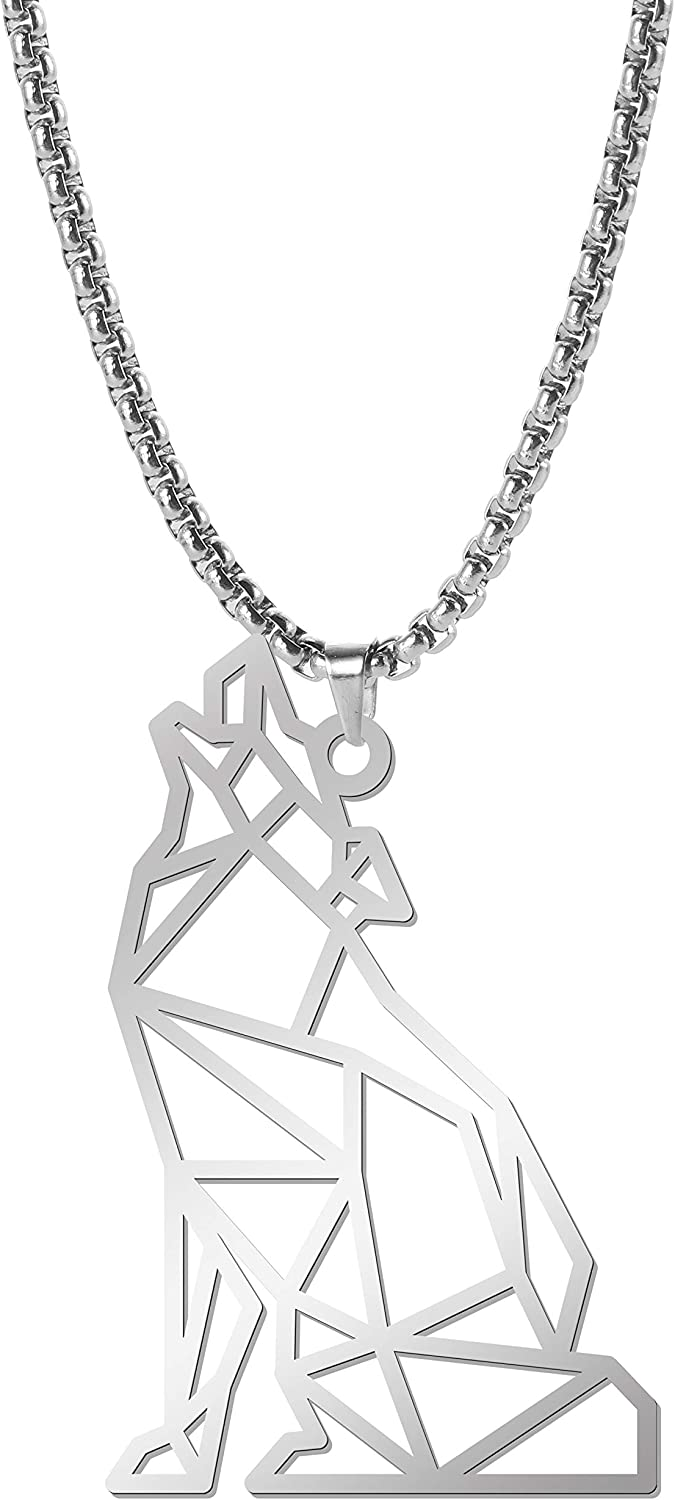 EUEAVAN Pure Stainless Steel Necklace Hollow Geometrically Carved Sitting Howling Wolf Pendant Rolo Chain Gift for Men Women