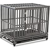 LUCKUP Heavy Duty Dog Cage Strong Metal Kennel and Crate for Medium and Large Dogs, Pet Playpen with Four Wheels,Easy to Inst