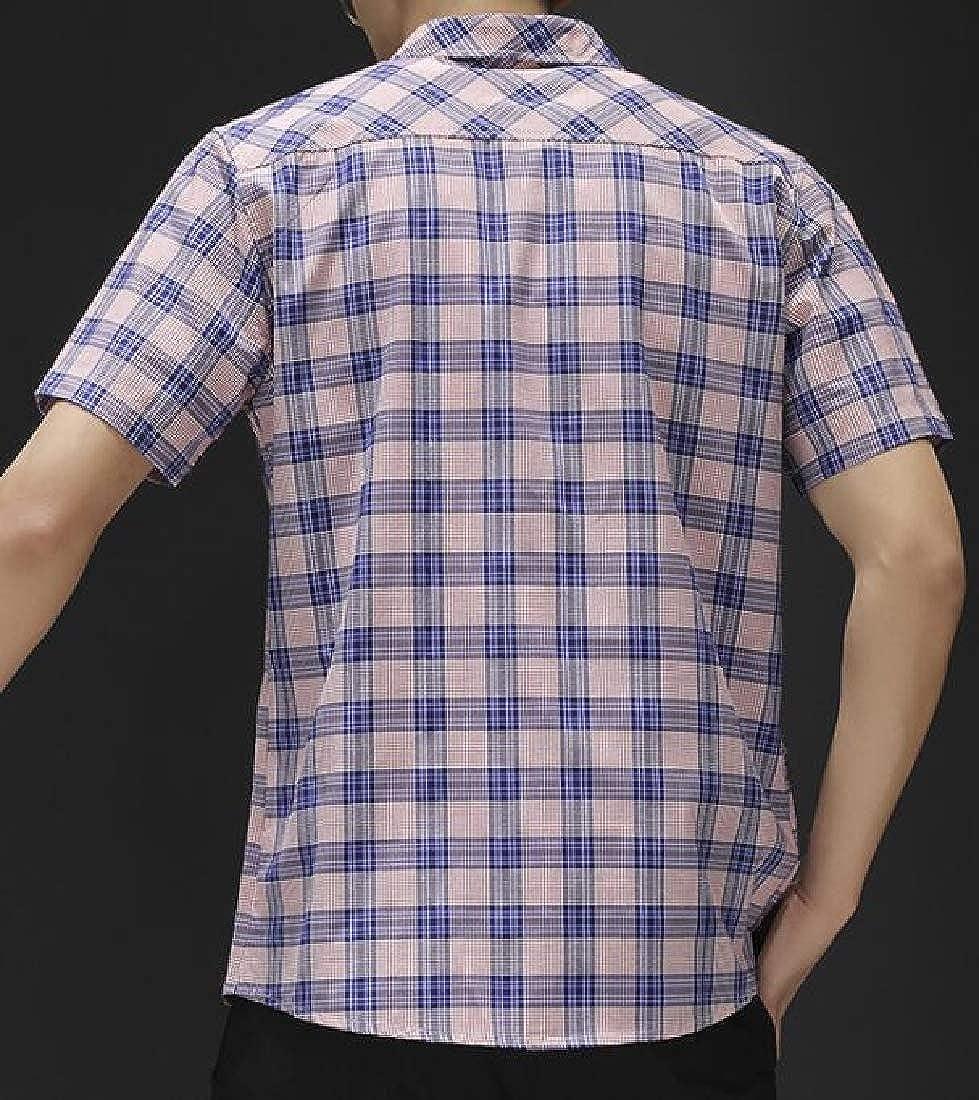 Joe Wenko Men Short-Sleeve Plus Size Button Down Checkered Summer Buffalo Shirts