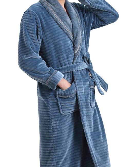 Gruesos Pijamas De Franela Manga Larga De Hombre De Invierno Bata Camisón De Chándal Cálido,