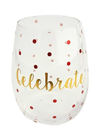 Amazoncom Gold Dot Holiday Stemless Wine Glass Celebrate Wine