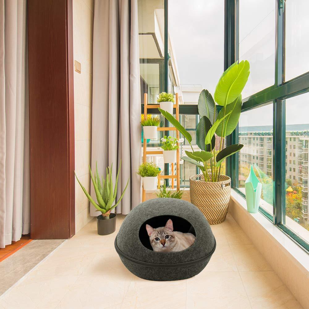 Decdeal Cama de Gatos Casa de Mascotas Nido Suave Cueva para Animales Dom/ésticos Perros Hechos de Fieltro Natural Jaula para Dormir