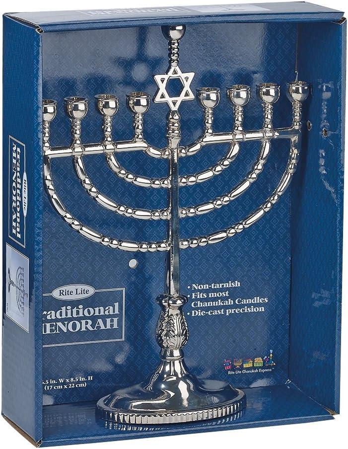 Rite -Lite Judaica M-7196 Menorah, 1 EA, Silvertone: Home & Kitchen