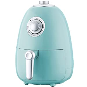 Air Fryer 2.2QT with Cookbook, Compact Electric Air Fryer Oven Cooker with Temperature Control, Non Stick Fry Basket + Auto Shut off Function Aqua