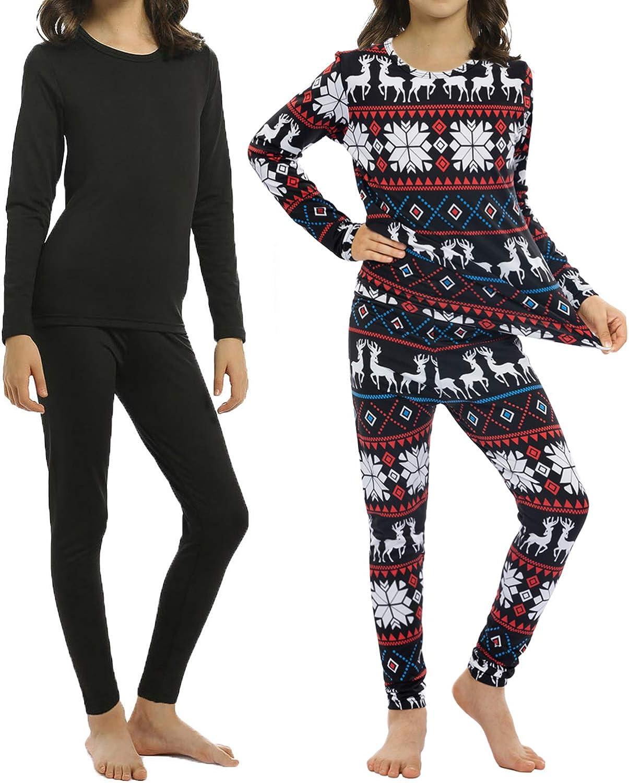 1-7yrs Little Kids Long Johns Thermal Underwear Set 2PC Crewneck Tops and Bottom Toddler Pajamas Warm Jammies,