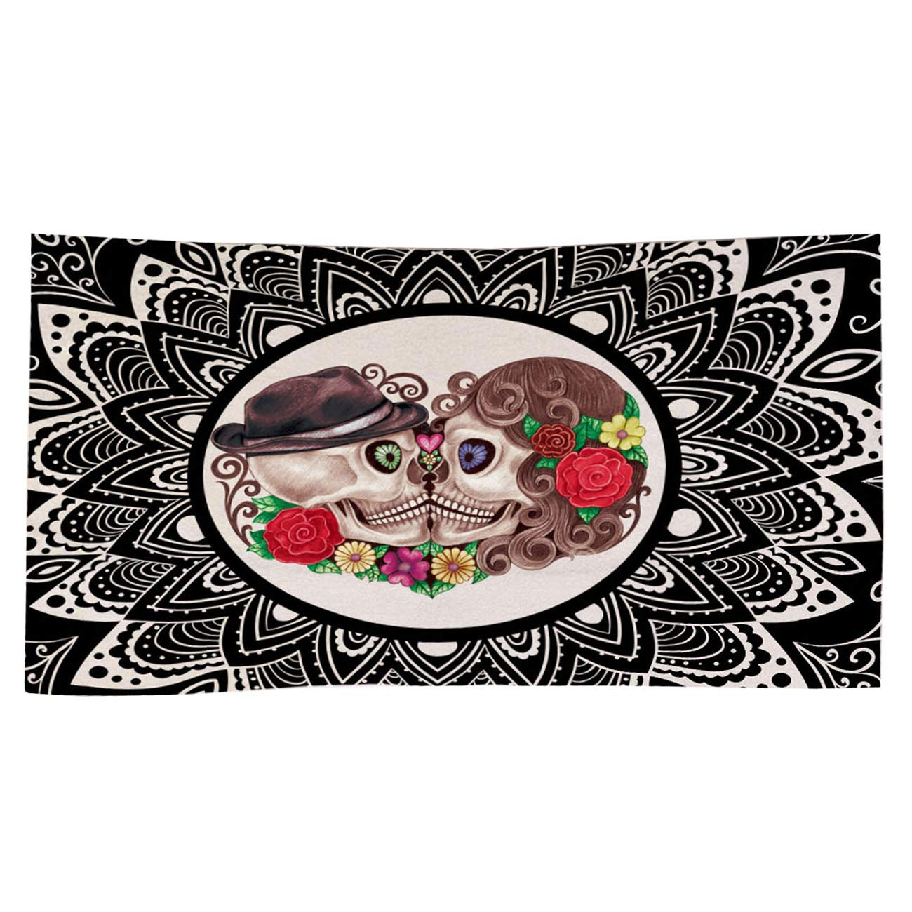 Mexican Floral Sugar Skull Dia De Los Muertos Beach Towel Unique Creative Square Microfiber Shower/Bath/ Pool Towel (Polyester Fiber) YangMing